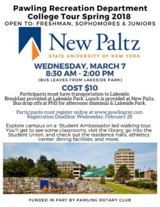 Pawling Recreation College Tour Spring 2018